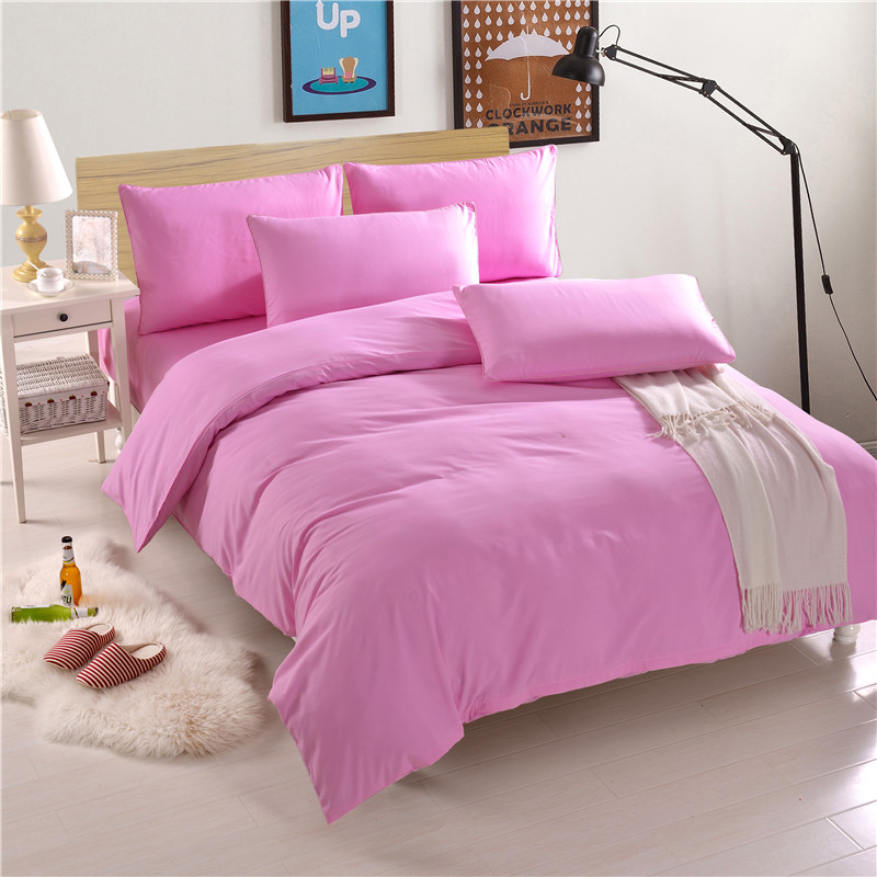 Pink Solid Color Bedding Set 4Pcs Adult Bed Linen Set Duvet Cover Brush Microfiber Bed Set Autumn Bedclothes Flat Sheet Soft Pink Solid Color Bedding Set 4Pcs Adult Bed Linen Set Duvet Cover Brush Microfiber Bed Set Autumn Bedclothes Flat Sheet Soft