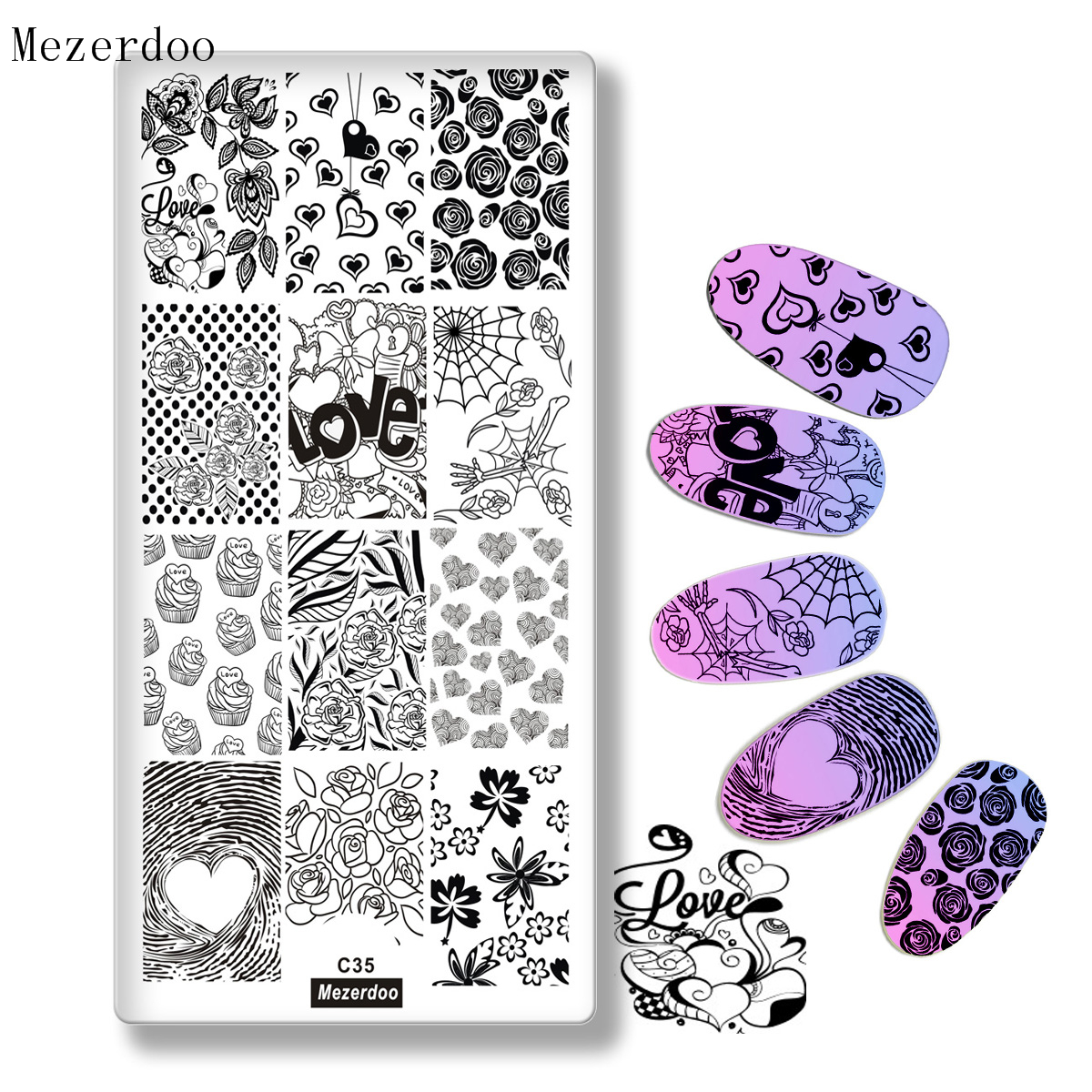 Love Valentine 39 s Day Pattern Stamping Plate Rose Spider Webs Design DIY Nail Art Stamp Image Plate Nail Stencil Tools C35 in Nail Art Templates from Beauty amp Health