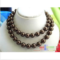 Hot sell Noble hot sell new 33 14MM CHOCOLATE ROUND SOUTH SEA SHELL PEARL NECKLACE(p993) ^^^@^Noble style Natural Fine jewe