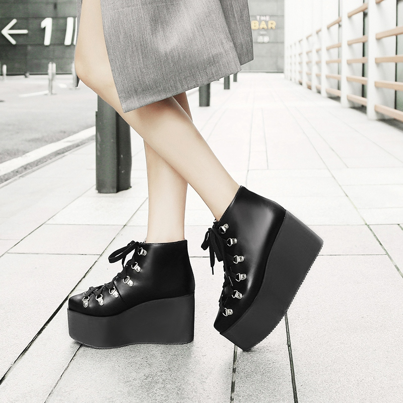 Clearance SaleASILETO Shoes Platform Wedges Knee-Boots Lace-Up High-Heels Botas Women S750 Rivet Motorcycle
