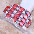 Charismatic Red Created Garnet 925 Sterling Silver  Women's  Ring Size 6 / 7 / 8 / 9  R1126