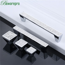 Bowarepro стразы, кухонный шкаф, винный шкаф, дверная ручка, серебряный ящик, стол, ручка, современная мода, квадратная ручка 96/128 мм