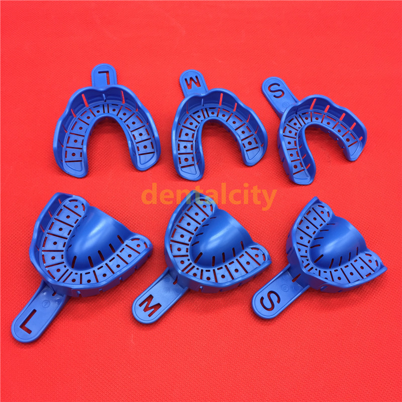 6Pcs/set Dental Impression Trays Plastic Materials Teeth Holder Dental Central Supply For Oral Tools