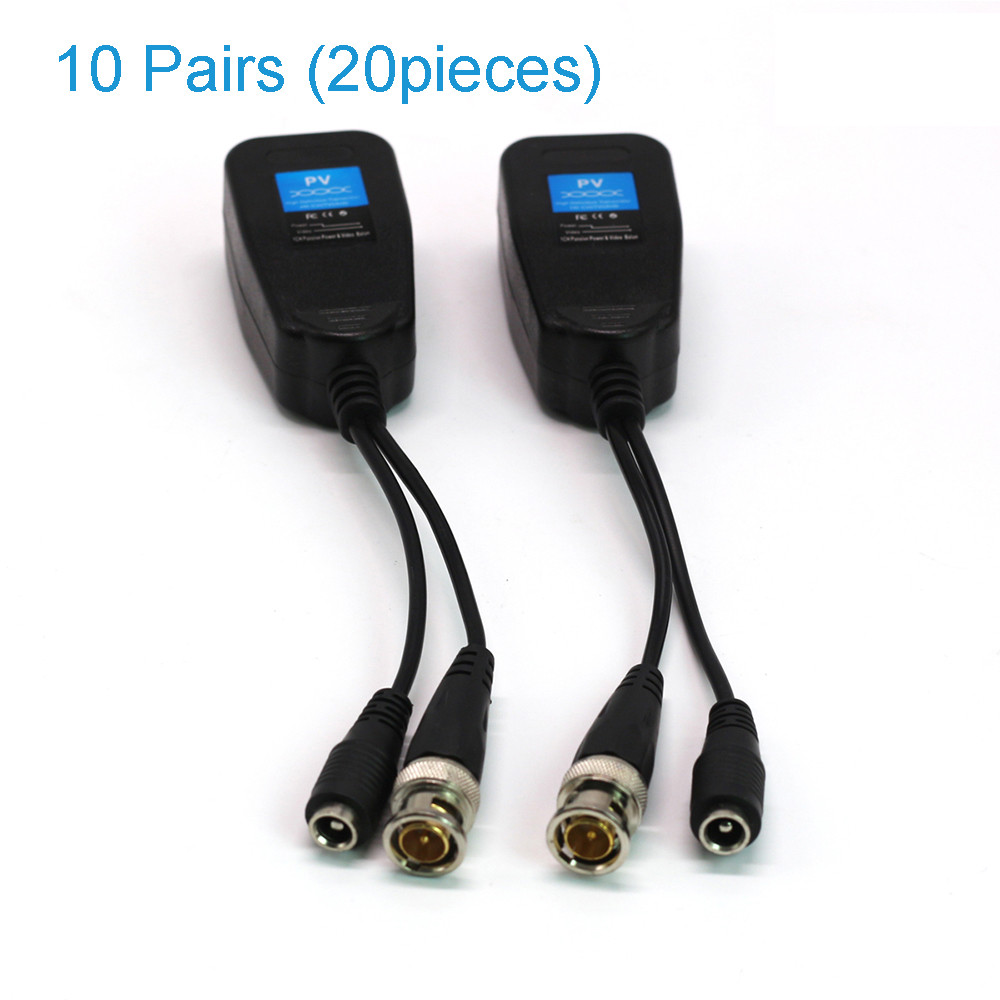 10 Pair (20 pieces)Video balun CCTV BNC Video Power Balun CVI/TVI/AHD CAT5 6 Surge Prote ...