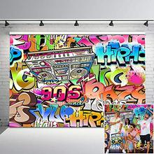 Neoback 90s Hip Pop Backdrop Colorful Graffiti Wall Photography Rock and Roll Custom Birthday Party Photo Background