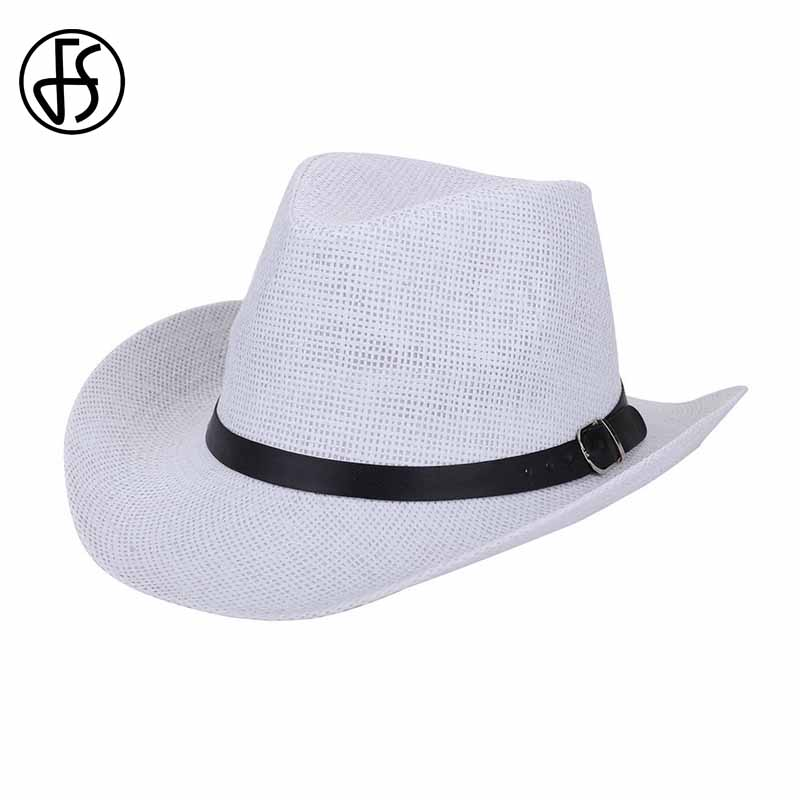 Fs Brand Straw Hats For Men Fashion Summer Plaid Sun Caps Beach Solid Color Panama Hat West Cowboy Cap White Brown Khaki Yet Not Vulgar