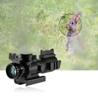 Outdoor Telescope 4x32 Prism Red/Green/Blue Tri Illuminated Tactical Reticle Riflescope Fiber Optic Sight Compact Hunting Scope