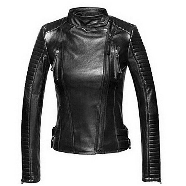 Кожаная куртка женщин куртки пальто тонкий байкер мотоциклов мягкий молния девушка кожа Jaquetas де Couro feminina женская одежда
