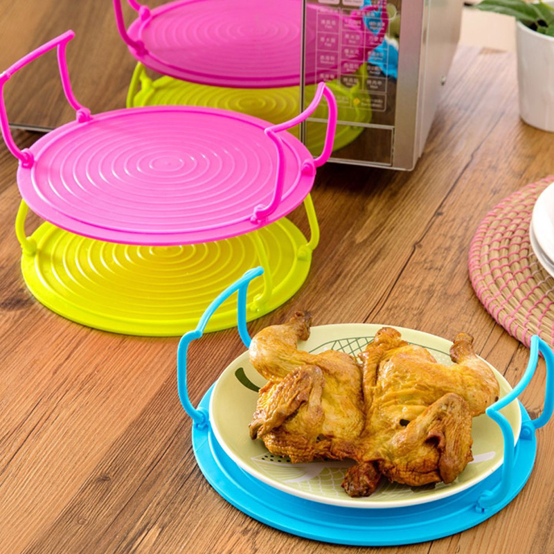 Insulation Tray Rack Pot Mat Multi-function Microwave Oven Heating Layered Steamer Tray Rack Bowls Holder Organizer