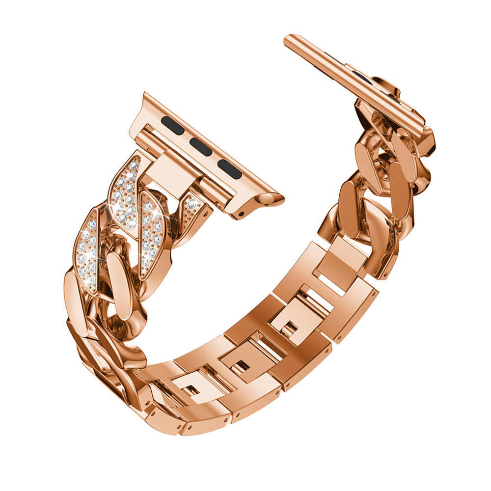 Women Ladies Watch Bracelet for Apple Watch Band Series 5 4 3 2 Fashionable Diamond Cowboy Chains Strap Metal Link 38/42/40/44mm