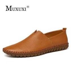جلد طبيعي حذاء كاجوال الرجال المتسكعون مريحة العلامة التجارية حذاء رجالي لينة تنفس الشقق أحذية قيادة زائد حجم 38-47