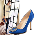 Sweet Square Rhinestone Buckle Silk Surface Women Pumps Sexy And Fashion High Heels Women Party Shoes for Lady Office