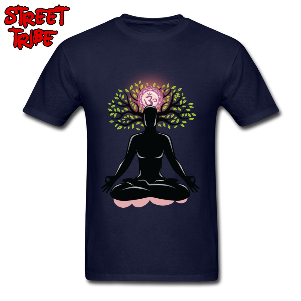 New Men's T-shirt <font><b>Om</b></font> Meditation <font><b>Tshirt</b></font> Mind Healing T Shirts 3D Printed Tees O Neck Clothing Cotton Fabric Blue Tops Hinduism image