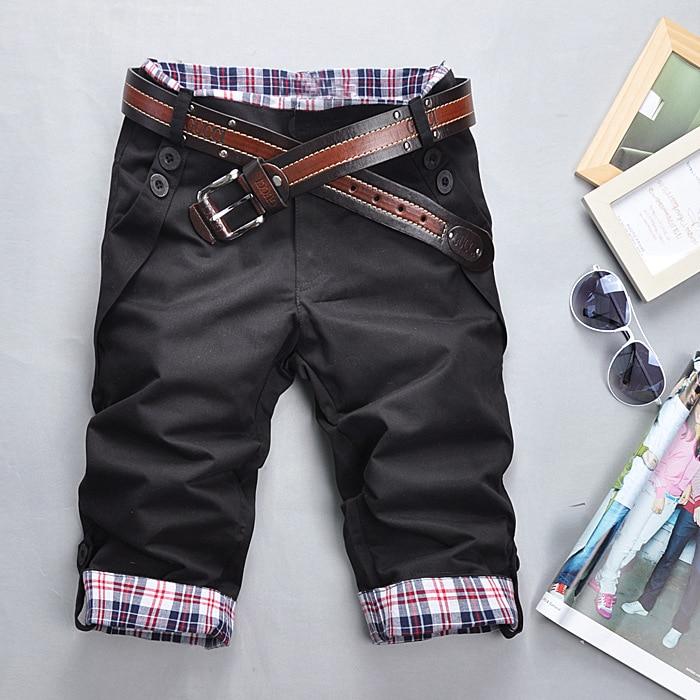 Stylish Bermuda Masculina Loose Cargo Shorts Men Summer Color matching Beach Casual Cotton Capris Short Pants belt size M-XXXL