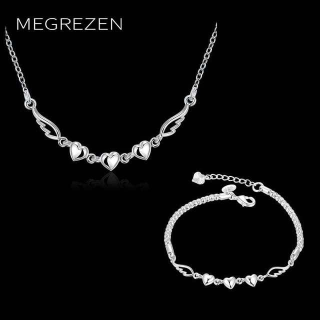 2e75d696b2e7c MEGREZEN Women Heart Necklace Bracelet Set Silver Jewelery Decorations  Necklaces Bracelets For Women Conjunto De Joyeria
