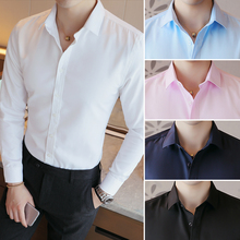 Office Mens formal Dress Shirts long sleeve New Arrival Men classical Business slim fit shirts wear Solid shirt
