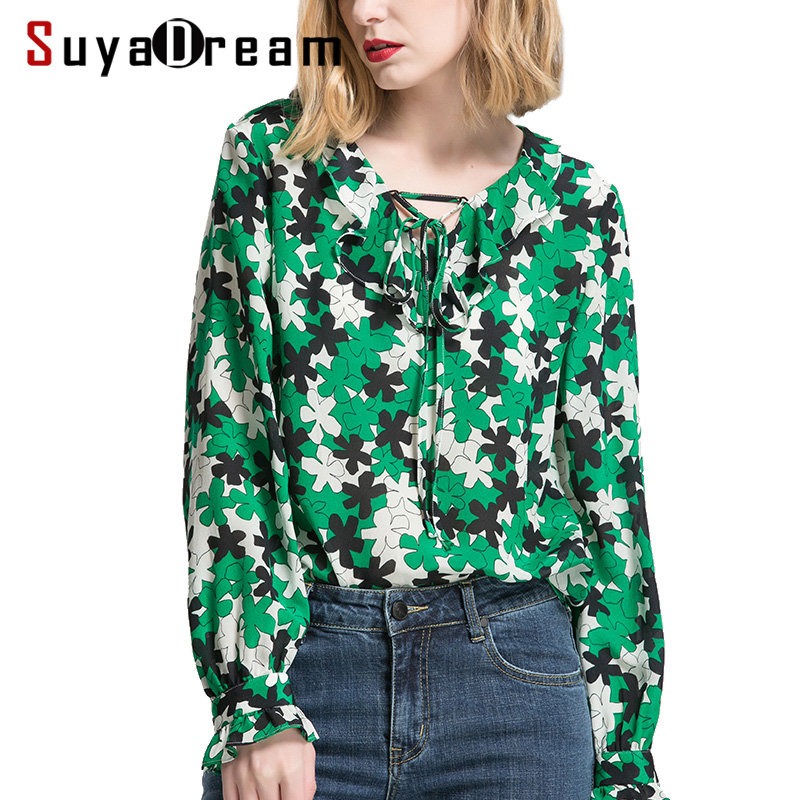 Women Blouse 100%Real silk Long sleeved Floral Printed Casual Blouses 2018 Spring Summer New Top shirt Green