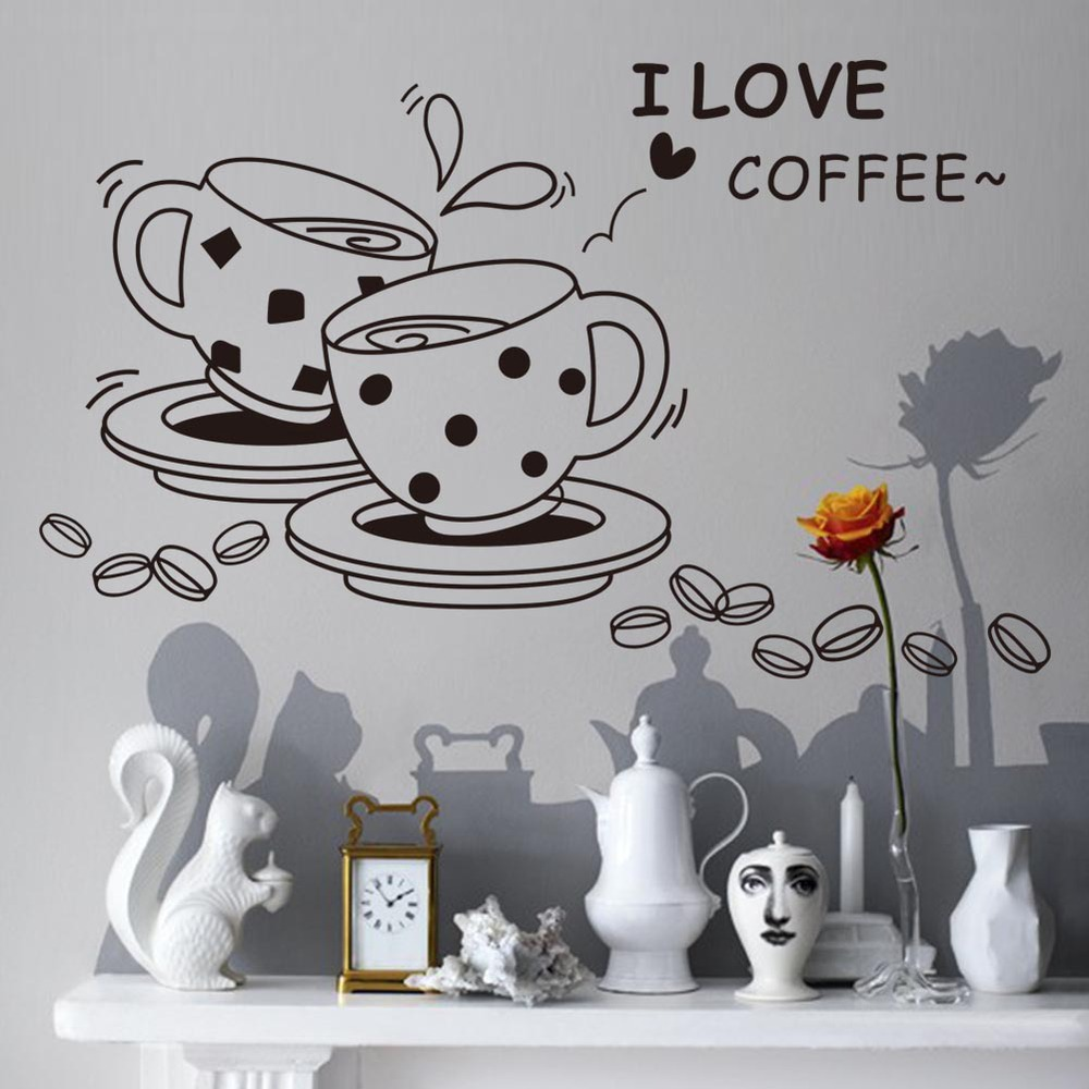 Cinta Coffee Dinding Decal Lucu Cangkir Kopi Dinding Stiker Dapur Restoran Vinyl Wall Stiker Vinyl Wall Stickers Wall Stickerstickers Kitchen Aliexpress