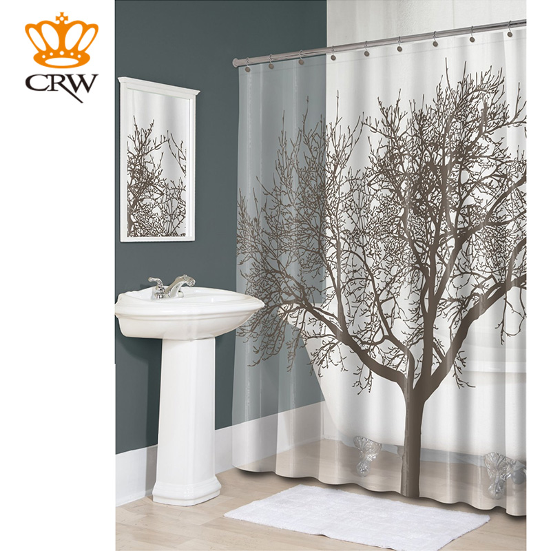 CRW Shower Curtain Liner Set Nature Scenery Big Tree Waterproof Polyester With Hanging Hooks Bathroom AccessoriesCT1001 bathroom flannel skidproof shore scenery mat