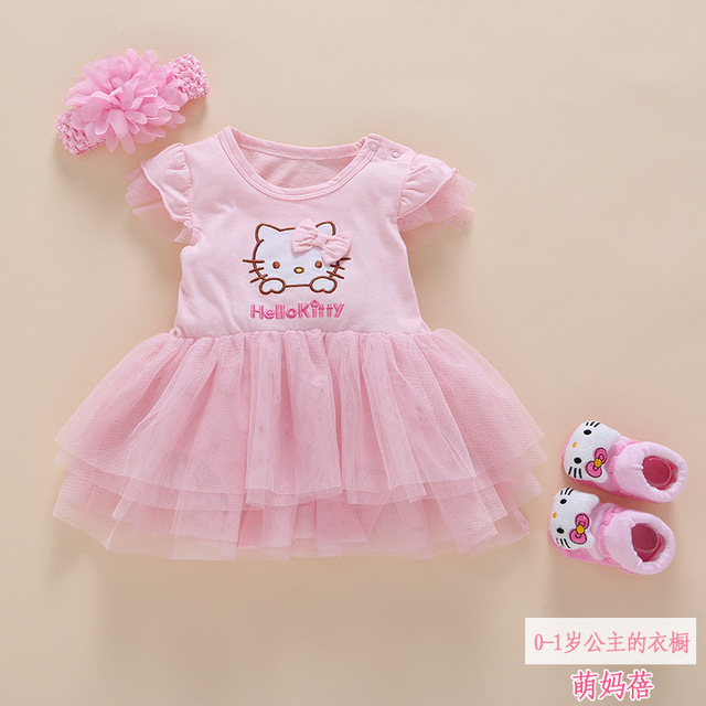 1d775849c3 Pink Hello Kitty Style Baby Dress for Girl Soft Cotton Three-Piece Sock  with Headband Bow Baby Dress Rompe Robes for Girls