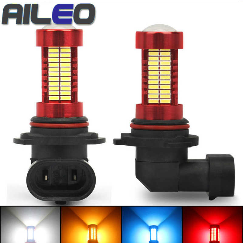 AILEO Car Headlight Bulb hb3 h10 H11 led hb4 h8 h9 h16JP 9005 9006 Fog light 3000K White Blue red yellow 12V 24V 2000LM 106 SMD