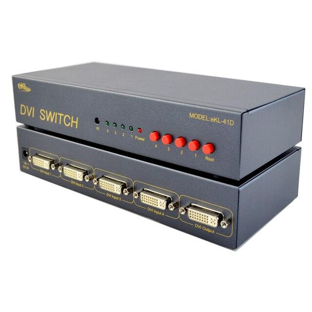 Interruptor de 4 Puertos DVI a DVI Switcher Box & 4 entrada y 1 Salidas DVI de Vídeo Externo Interruptor