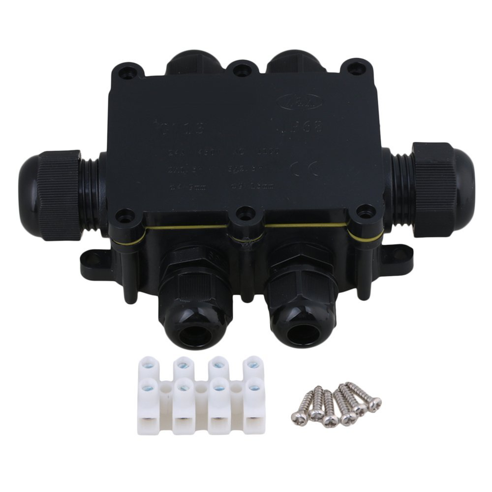 Black IP68 Waterproof UV Sunproof Outdoor 6 Way Cable Wire Connectors Junction Box 2 In 4 Out with TerminalBlack IP68 Waterproof UV Sunproof Outdoor 6 Way Cable Wire Connectors Junction Box 2 In 4 Out with Terminal