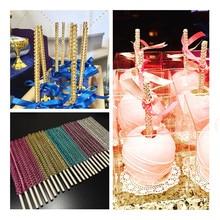 New 10pcs Candy Apple Sticks Skewers Bling Buffet Supplies Dessert Rhinestone