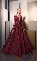 2019 Modest Burgundy Prom Dress Long Sleeves Shiny Sequin Luxury Applique Lace Dubai Lady Evening Gowns Celebrity Formal Dresses
