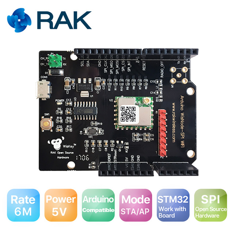 WisNode SPI Development Test Board Compatible Arduino For Open Source Developer Integrate TCP/IP Stack RAK439 Module with SPI 6M