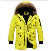 Горячий Продавать 2016 Новый мужской Стройная Длинный Хлопок Толстый Зимний Снег Теплая Куртка Из Искусственного Меха Пальто Парки, размер M-2XL, 2 Цветов
