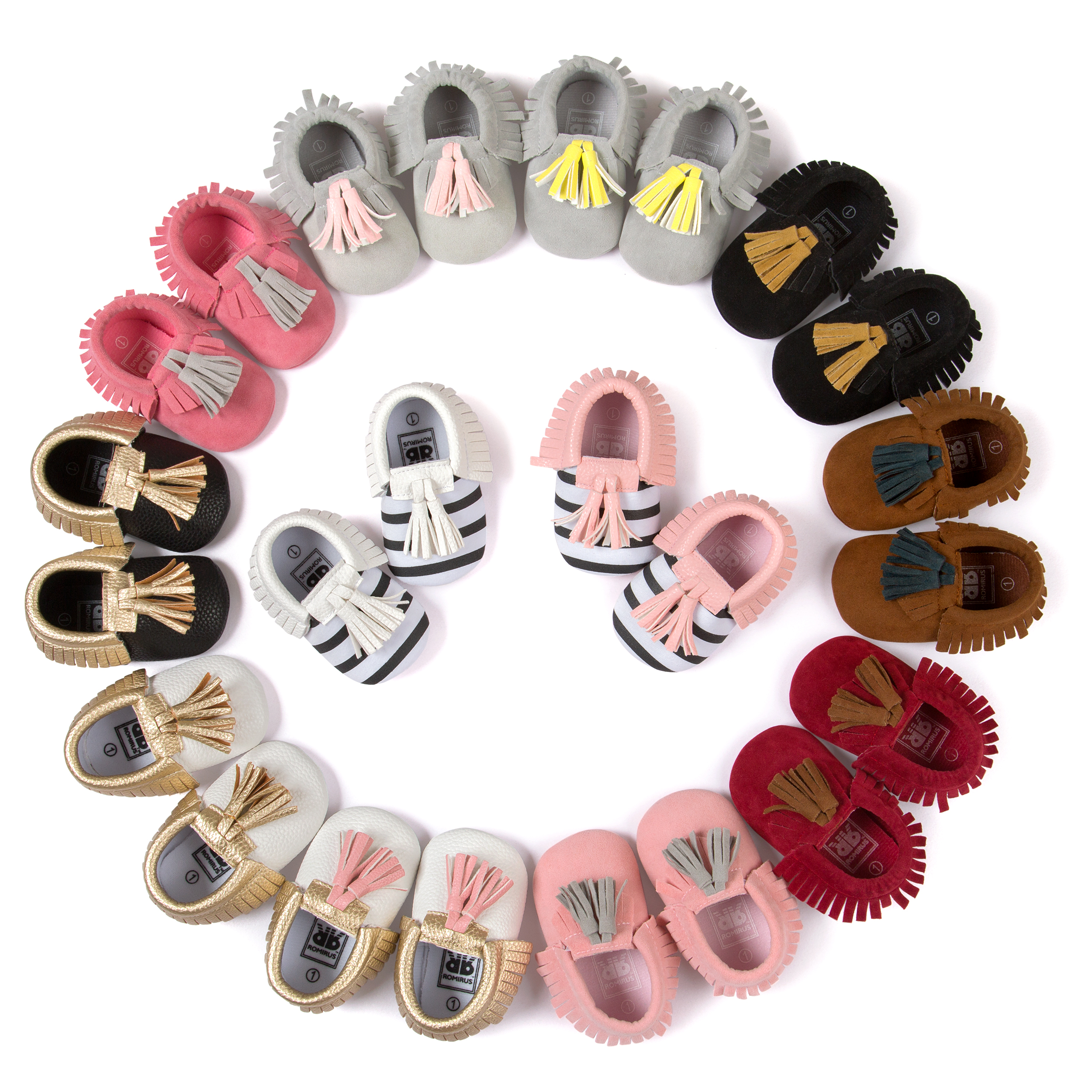 Leather With Matte Fringed Baby Moccasins Toddler Shoes Baby Stripe Tassel Infant Newborn Girls Shoes First Walker 2219