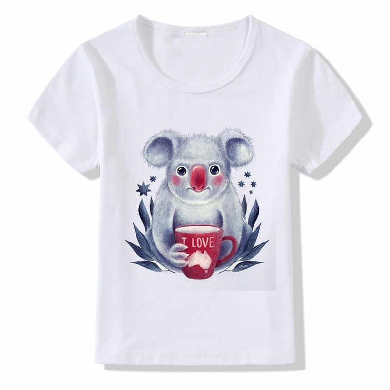 dc773af9a0 Detail Feedback Questions about New Kawaii Koala with Coffee Cup Print T  shirt Children Summer Tops Boys Girls Funny I love Australia Design Tshirt  Kids ...