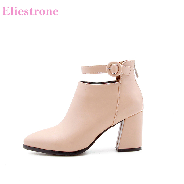 e8309b60a73 New Autumn Comfortable Wine Red Women Ankle Riding Boots Lady Shoes 3 inch  Square Heels AB284 Plus Big Size 10 12 32 43 47