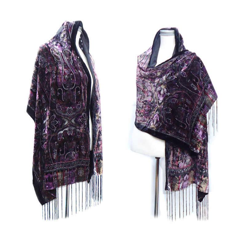 21c9fe2008bc New Hot Plue Size Silk Velvet Scarf Women Scarves Warm Winter Shawls Luxury  Queen Crown Poncho