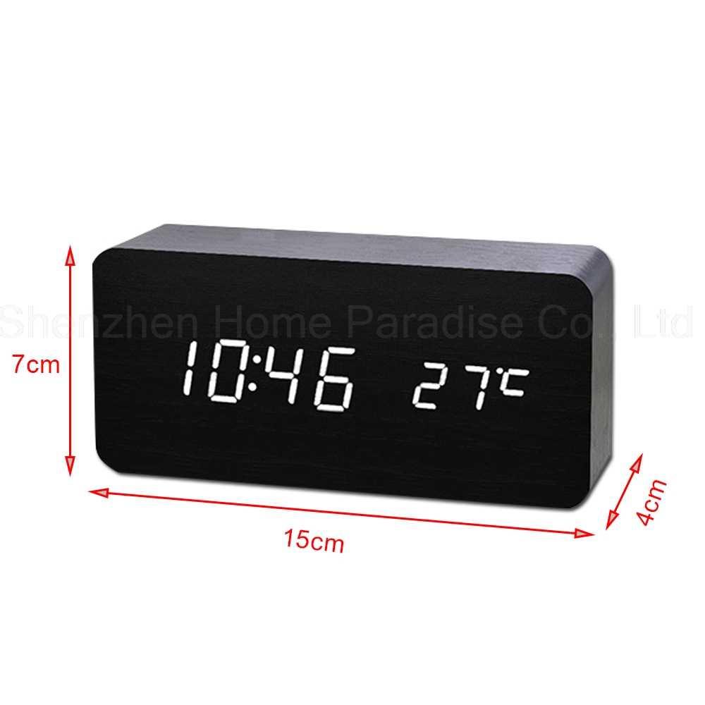 Деревянные светодиодный цифровые часы с режимом включения по таймеру Белый Настольный Будильник для Спальня звук Управление Температура электронные настольные часы домашний декор
