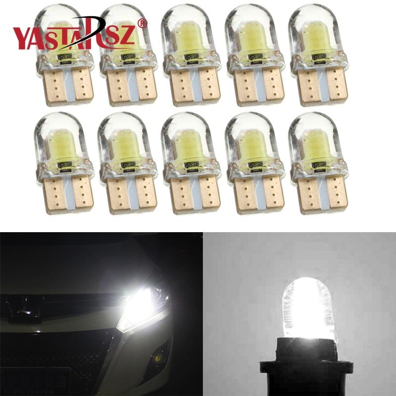 1x5x10PCS Car Modeling Light T10 194 W5W 168 COB 8-SMD Silicone Car LED Super Bright Turn Side Panel Lights Spare Bulb DC 12V
