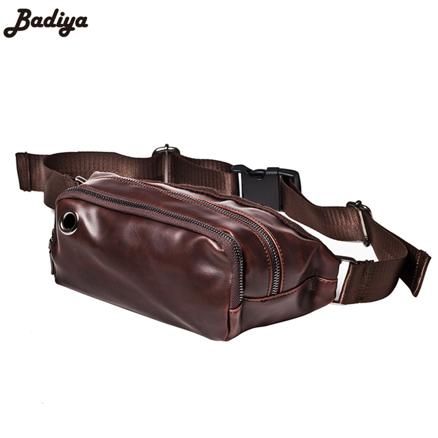 Men's Crazy Horse PU Leather Waist Packs Large Capacity Solid Travel Belly Bag For Phone Money Belt Pouch Famous Brand Bags