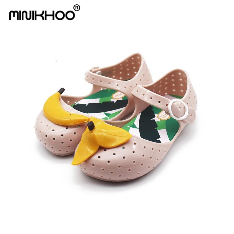 Mini Melissa 2018 New Children Jelly Shoes Hollow Sandals Shoes Non-slip Baby Shoes Banana Girls Mini Melissa Beach Shoes