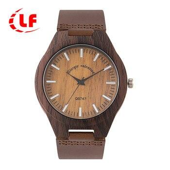 QW Sports 2019 Top Luxury Brand QW Leather Men Women Popular Wood Watches Simple Ladies Male Quartz Watch