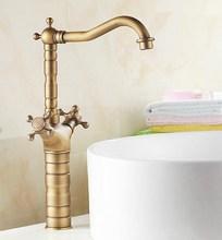 Antique Brass Dual Cross Handles Swivel Kitchen Bathroom Sink Basin Faucet Mixer Taps aan011