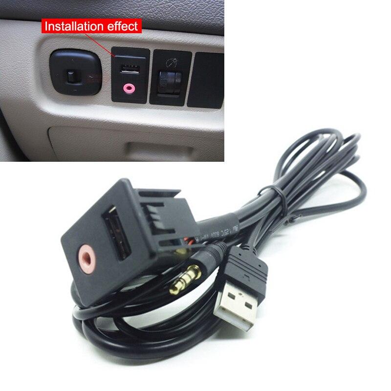 New Car Dash Flush Mount USB Port 3.5mm AUX USB Extension