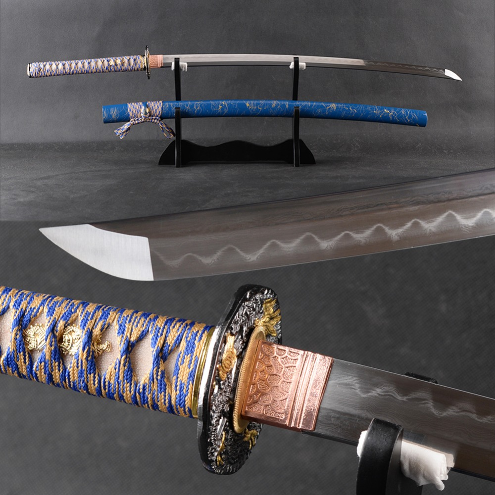 FULL TANG Japaneseապոնական Samurai սուրը Katana Ձեռքով Folded Steel Clay Tempered Blade Espada No-Hi Շատ Sharp Katana Դեկոր Swor