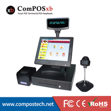 """High Quality 15"""" All in One Touch Screen Restaurant POS System With VFD Customer Display Cash Drawer Printer Barcode Scanner"""