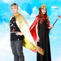 Royal Cape Costume Re Regina Principe Nobile Mantello per Halloween Party di Carnevale Di Natale per Adulti e Bambini Oro Rosso Poliestere