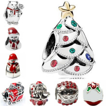 Btuamb Luxurious Crystal Christmas Snowman Snowflake Santa Claus Enamel Beads Fit Pandora Bracelets for Women DIY Making Jewelry(China)