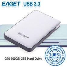 EAGET G30 Original 500GB 2TB External Hard Drives HDDs USB 3.0 High-Speed Shockproof Encryption Desktop Laptop Mobile Hard Disk