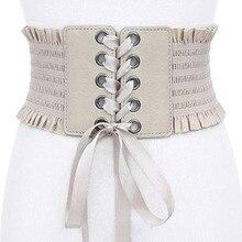 купить!  Женские винтаж Широкий эластичный пояс на шнуровке Cinch Tie Регулируемый кожаный Cinch Корсет