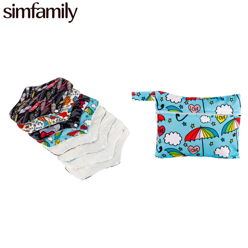 [simfamily]7Pcs Regular Flow Menstrual Pads Set Resualable Waterproof  Bamboo Material Inner Daily Use,Wholesale Selling
