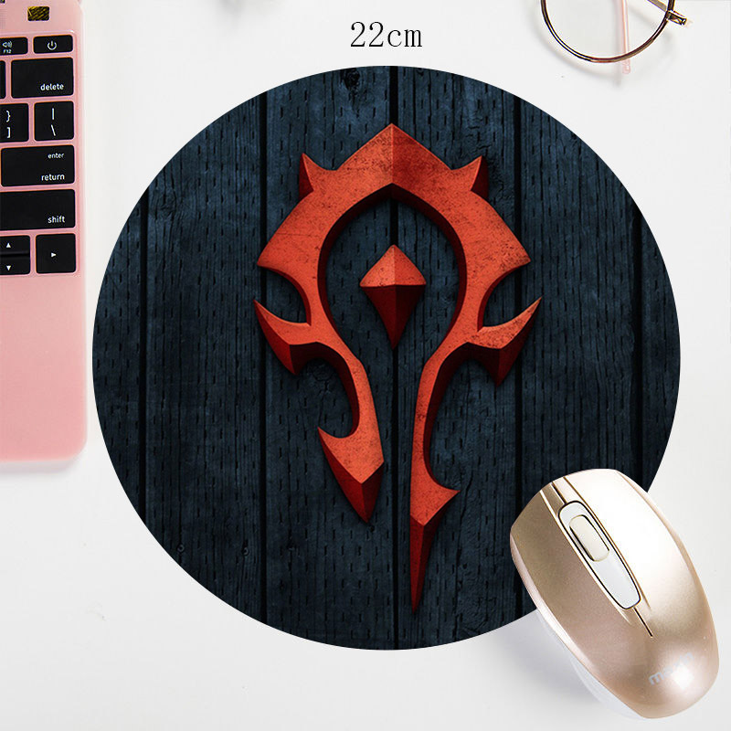 22X22CM WOW Round Mouse Pad Watercolor Prints Custom Mouse Mat World Of Warcraft The Alliance The Horde Gaming Mousepad Mat